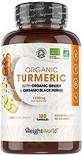 Curcuma Bio 1520 mg avec Poivre Noir et Gingembre Bio - 180 gélules Vegan - 3 mois WeightWorld | Curcumine Bio | Organic Turmeric Black Pepper Ginger | Curcuma Bio Gélule Haute Absorption