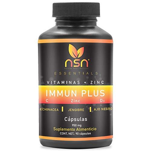 Vitaminas y Zinc | Suplemento 6 en 1 | Vitamina C y D3 | Echinacea, Jengibre y Ajo Negro | 90 Cápsulas 90 días