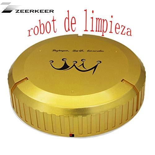 Zeerkeer Robot de Limpieza, Limpiador de Pisos Automático Inteligente de Moda Limpiador de Pisos Limpiador de Polvo de Microfibra Máquina Barredora Automática (Oro)