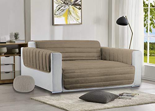 aplus1 Funda para sillón de color liso, acolchada, de microfibra hipoalergénica y antimanchas (color pardo, sillón)