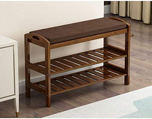 Yxsd - Organizador de zapatos de madera vintage de alta calidad, para almacenamiento, gabinete, soporte de banco con cojín de asiento suave para entrada, pasillo (tamaño: D)