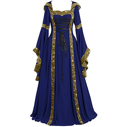 Aiserkly Damen Karneval Gothic Kleid Vintage Celtic Mittelalter Bodenlangen Renaissance Cosplay Kleid Langarm Binde Hoodie Maxikleid Langes Abendkleid Festliche Kleid Partykleid Blau S