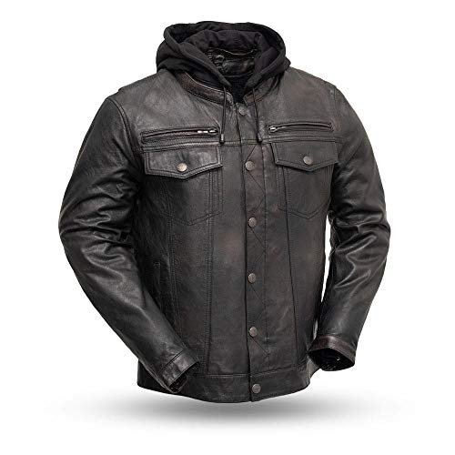 First Manufacturing Vendetta Men's Protective Biker Motorbike Motorcycle Leather Jacket (Black Olive, X-Large)
