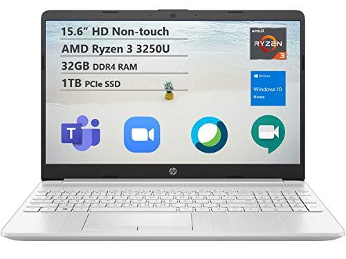 """HP 15 Entry Level Laptop, 15.6"""" HD BrightView Display, AMD Ryzen 3 3250U, Webcam, HDMI, USB-C, Numeric Keypad, Windows 10 Home (32GB DDR4 RAM   1TB SSD)"""