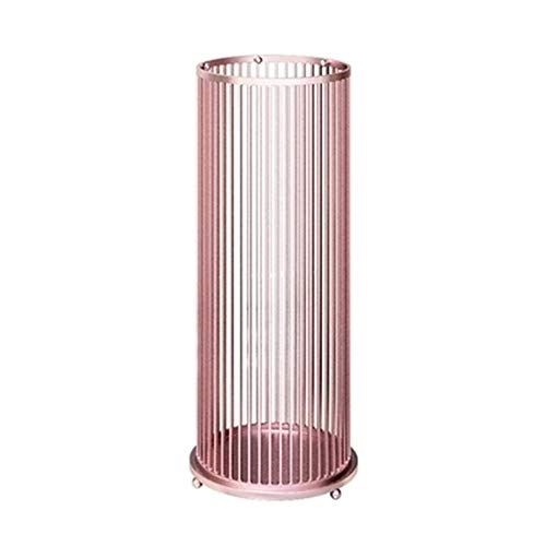 Umbrella Stand Light Luxury Wrought Iron, Home Entrance Hotel Lobby Umbrella Storage Rack, with 4 Hooks, White Black Gold Pink 58x22cm (Color : Pink)