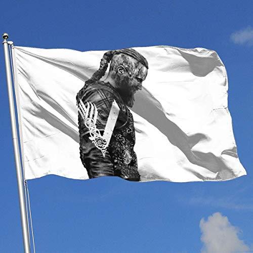 Jeewly König Ragnar Lothbrok Wikinger 3x5 Fuß Flagge Außenflagge 100% einschichtiges durchscheinendes Polyester 3x5 Ft