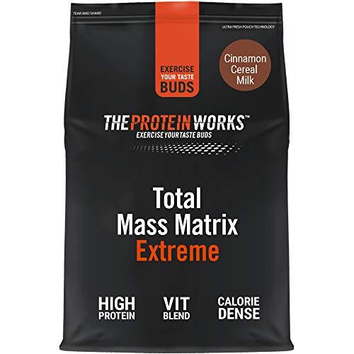 THE PROTEIN WORKS Total Mass Matrix Extreme Protein Powder   Masa Muscular   Alto en Calorías Para Ganar Masa   Con Glutamina, Creatina y Vitaminas   Leche de Cereales y Canela   1.325kg