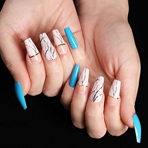 Sethexy Lange Blau Ballerina Falscher Nagel Weiß Korn Sarg Falsche Fingernägel Glänzend 24St Acryl Kunst Nagelspitzen für Frauen und Mädchen