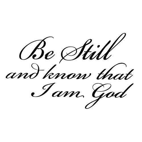 Baalaa Be Still and Know that I am God pvc Wall Art Religious Home Decor Biblia Scripture Calcomanías de pared:negro