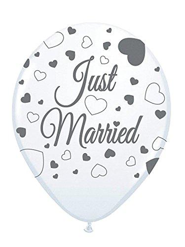 Folat bruiloft ballonnen Just Married Party Deko 8 stuks wit-grijs