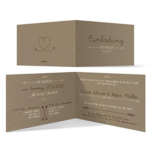 30 x Hochzeit Einladungskarten Hochzeitskarten - Pfeil mit Herz Kraftpapier Look
