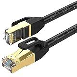 Cable de Ethernet Cat 7, cable de red chapado en oro, de alta velocidad de 10Gbps, con conector RJ45 para módem, router, panel de conexión, ordenador, portátil y caja de televisión digital negro 1,5M