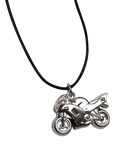 Unbekannt Générique Halskette Anhänger Motorrad Chrom Silber mit Kordel