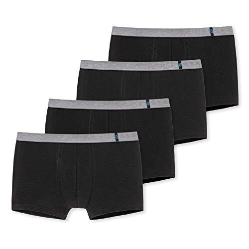 Schiesser Herren Shorts - Pants, 95/5, Cotton Stretch, Uni, schwarz (L (Large, 4Pack))