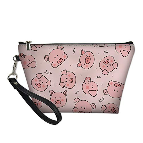 Bigcardesigns Travel Cosmetic Bags Women Ladies Portable Makeup Purse Pink Pig Print Zipper Closer Brush Holder Pouch Toiletry Case