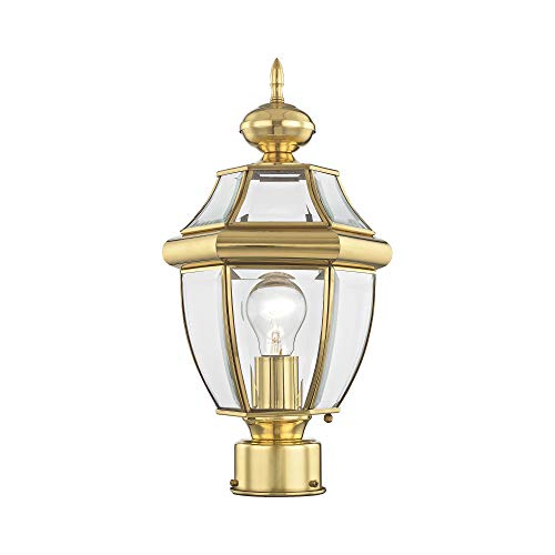 Livex Lighting 2153-02 Outdoor Post with Clear Beveled Glass Shades, Polished Brass