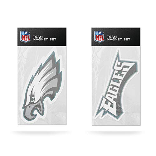 NFL Rico Industries 2-Pack Die Cut Team Logo Magnet Set, Philadelphia Eagles,Team Color,4 x 6-inches