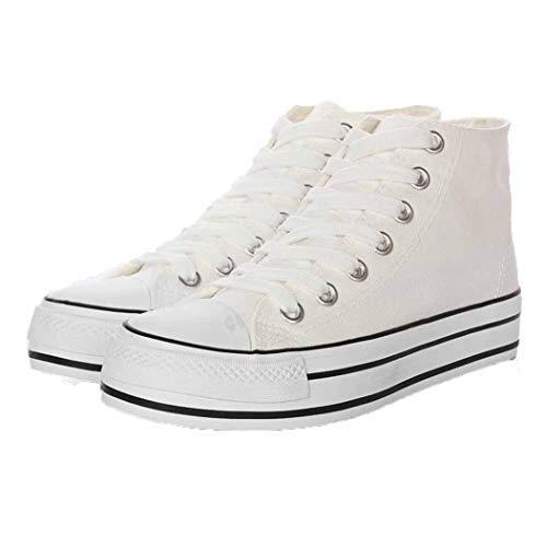 Zapatos de Lona para Mujer Zapatillas de Cordones con Plataforma Transpirable de Plataforma Superior Zapatillas de Deporte de cuña Ocultas de tacón Oculto para Mujer