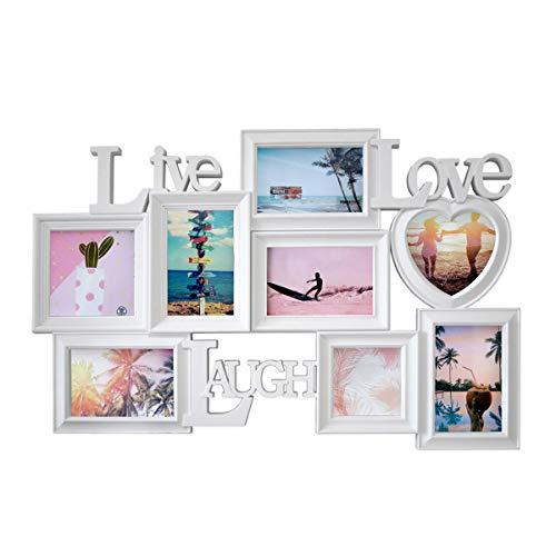 PrimoLiving Große LIVE Love Laugh Bildergalerie in 3D Optik für 8 Bilder in Weiß P-721