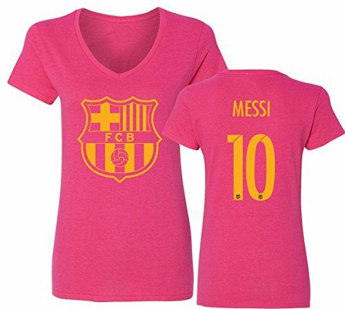 Barcelona Soccer Shirt Lionel Messi #10 Futbol Jersey Womens V-Neck T-Shirt Pink