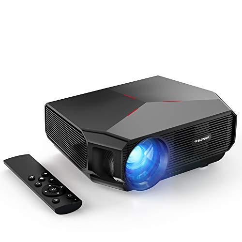 Proiettore, SLANWIN 5500 Lumens Mini Videoproiettore Portatile Cinema Proiettore 720P Native Supporto 1080P Full HD 60000 Ore LED Con Altoparlanti Hi-Fi per TV Stick/Lettore DVD/Laptop/Smartphone/PS4