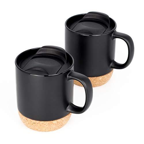 Kaffeetassen Set Arabica (2 x 375ml) - Kaffee-Becher aus Keramik mit Korkboden und Deckel