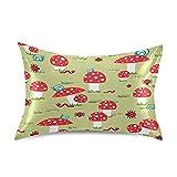 ADKing - Fundas de almohada de satén para pelo y piel, diseño de caracoles, mariquitas y champiñones