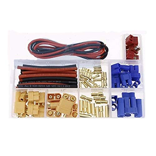 Gfhrisyty Enchufe en T / XT60 / XT90 / EC3 / EC5 Conectores de Adaptador de Enchufe Macho Hembra Kit de Cables de Silicona y Tubos RetráCtiles para Marco / Coche RC