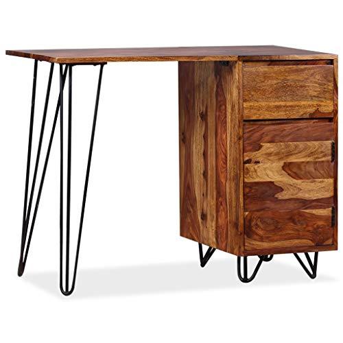 vidaXL Schreibtisch Schublade Schrank Sheesham Holz Computertisch Bürotisch