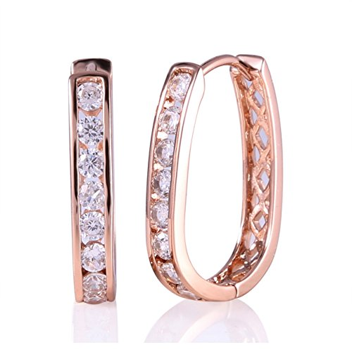 GULICX Rose Gold Electroplated White Zircon Channel Setting Lady Women's 26MM Long Hoop Earring