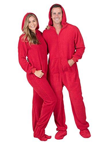Footed Pajamas - Heatwave Adult Hoodie Chenille Onesie (Adult - Medium Plus/Wide (Fits 5'8-5'11')) Red