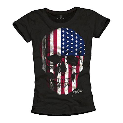 MAKAYA Magliette Donna con Teschio USA Skull T-Shirt Bandiera Americana Nera S