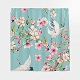 Japanisch Kranich Kirschblüte Duschvorhang Antischimmel Vogel Blumen Badezimmer Vorhang mit Haken Cyan 180x200cm