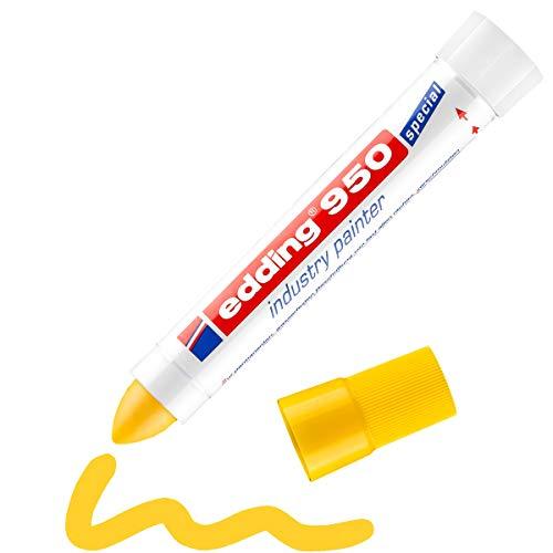 Edding 950 marcador industrial - amarillo - 1 rotulador - punta redonda de 10 mm - marcador para escribir sobre metal, piedras, madera - superficies rugosas o húmedas - permanente, impermeable