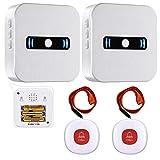 Daytech 呼び出しワイヤレス コールボタン 介護ベル 電池式携帯しやすい 防水 緊急アラーム 高齢者/妊婦向け (受信機2 +発信機2,赤色)