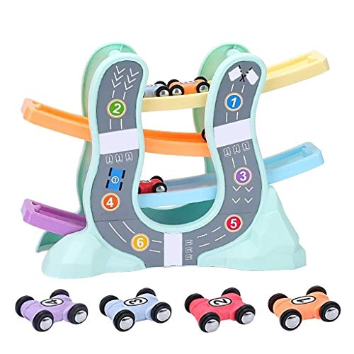 Fine Race Car Mini Car Toddler Toy Gift, Racing Ramp Race Car Adventure Track Toy for Kids Toddlers Boys and Girls from 3 Age (A)