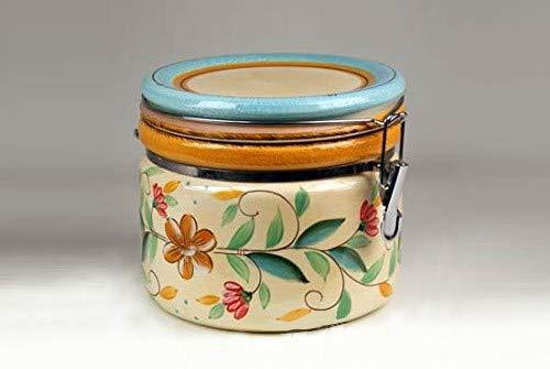 Gicos Tarro galleta contenedor de cerámica 19 x 17 cm Decoración Florence con tapón hermético HON-563485