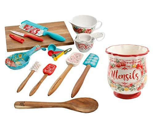Vintage Floral 20-Piece Kitchen Gadgets Set bundle with Vintage Floral 1-Piece Utensil Holder, 6.75 Inch - Kitchen Utensils for Cooking and Utensil Holder for Countertop (21 Items)