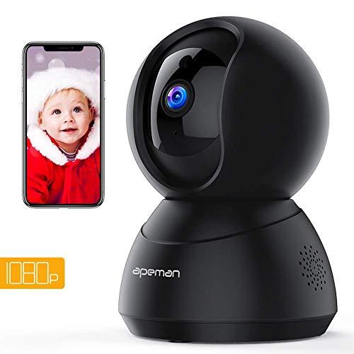 Apeman FHD 1080P Cámaras de Vigilancia WiFi Interior, Cámara IP WiFi, Visión Nocturna, Audio de 2 Vías, Detector de Movimiento Pan/Tilt, Compatible con iOS/Android