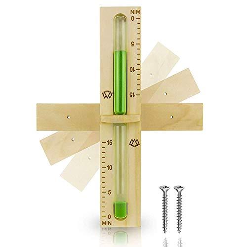 15 Minuten Sauna Sanduhr aus 100% nordischer Fichte - Glas robust & hitzebeständig - Kontrastfarbe...
