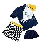 Traje de Baño para Niños Dos Piezas Niño Bañador Pantalones de Natación con Gorra 50+ UPF UV Solar Protección Bebé Manga Corta Trajes de Neoprenos Ropa de Playa, 2-3 Años