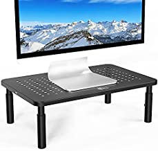 WALI Monitor Stand Riser for Computer, Laptop, Printer, Notebook and All Flat Screen Display with Vented Metal Platform and 3 Height Adjustable Underneath Storage, 1 Pack, Black