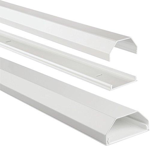 Hama Stabiler Kabelkanal aus Aluminium Weiß (1,1 Meter Länge, für 8 Kabel, robuste eckige Metall Kabelabdeckung)