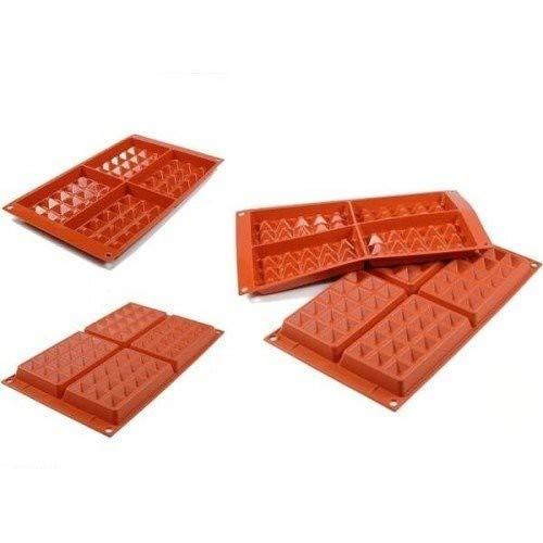 silikomart 26.155.00.0065 Moule en Silicone, Forme de Gaufres Classiques, Rouge Brique, 30,1 x 17,5 x 2,3 cm