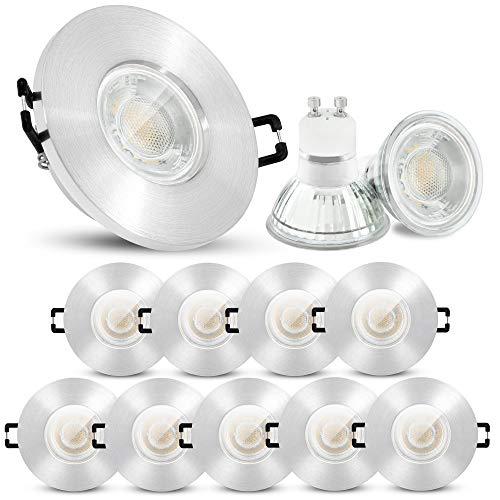 10 Stück linovum ISASO Badspots LED in Alu gebürstet IP65 - inkl. LED GU10 3W neutralweiß 230V - runde Bad Einbauspot im Set