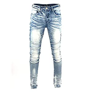 Men's Denim Jeans, Skinny Stretch Pleats Vintage Long Pant with Outside Tape