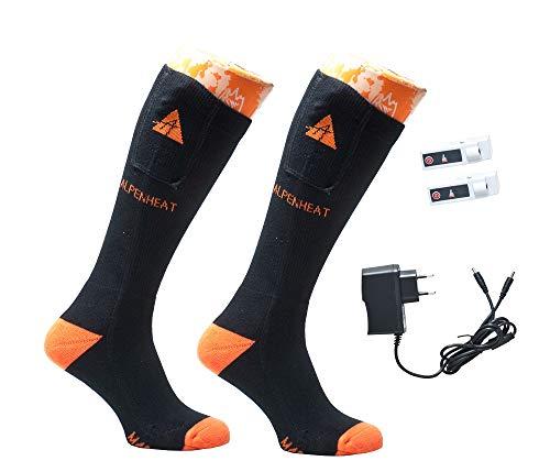 ALPENHEAT Beheizte Socken Fire, Schwarz/Orange, 42-45, AJ26-L