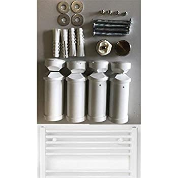 Fits dritto e curvo modelli Accessories for towel rails /& radiators Universale bianco staffe per Portasalviette