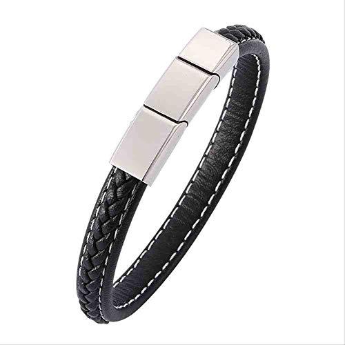 JYHW sieraden voor heren armband van leer Punk exquise magneetsluiting armband van roestvrij staal Bileklik beste cadeau Che lengte 185 mm zwart zwart zwart