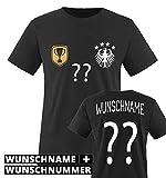 Trikot - Deluxe 2016 - DE - WUNSCHDRUCK - Kinder T-Shirt - Schwarz/Weiss-Gold Gr. 134-146
